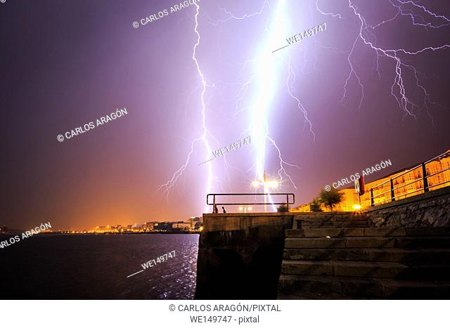 Lightning storm over Santander, Spain
