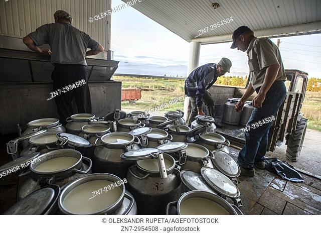 Workers of dairy factory collect milk samples at the Nikitin Kolkhoz at Ivanovka village, Azerbaijan. Ivanovka is a village with mainly Russian population which...
