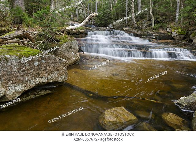 A small staircase like cascade on Whitehouse Brook in Franconia Notch of Lincoln, New Hampshire on a spring day