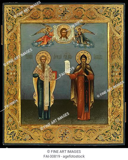 Saints Cyril and Methodius by Bogatenko (Bogatenkov), Yakov Alexeevich (1875-1941)/Tempera on panel/Russian icon painting/1906/Russia