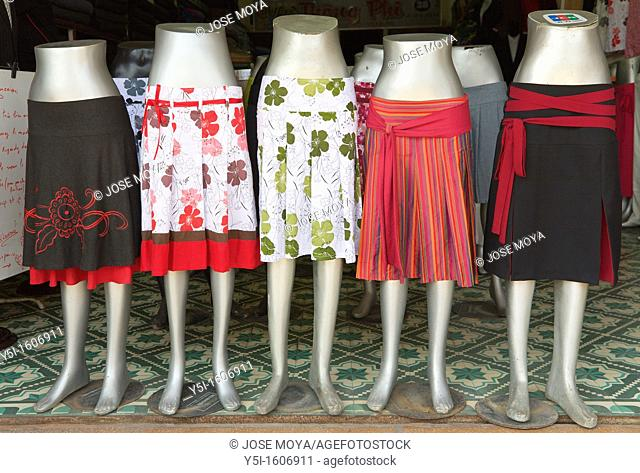 Skirts for sale in a clothes shop, Hoi An, Quang Nam Province, Vietnam