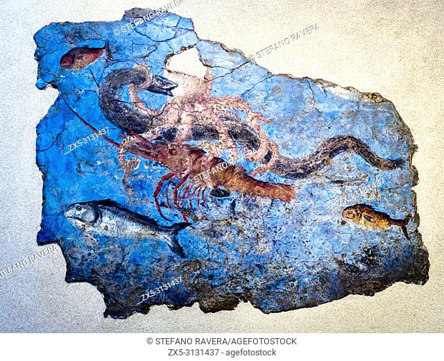 Fragment of a wall with marine fauna from the locality of Pietra Papa, the River Port of San Paolo along Via Portuense. 125-150 AD - National Roman Museum at...