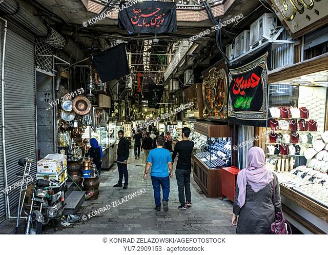 Alley with shops on the Grand Bazaar in Tehran city, capital of Iran and Tehran Province