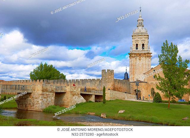 Bell tower of cathedral and city walls, Burgo de Osma-Ciudad de Osma, Soria province, Castilla Leon, Spain.