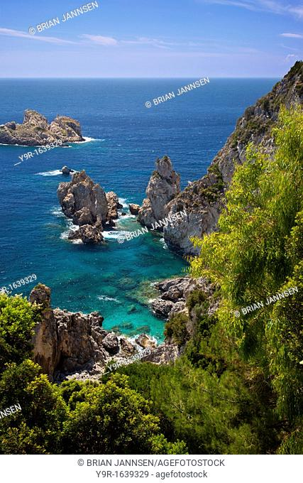 Coastline of Corfu near Paleokastritsa, one of the Ionian Islands along the western shores of Greece