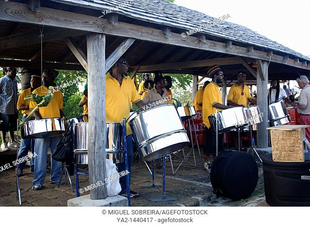 Steel drum band plays at Shirley heights in Antigua