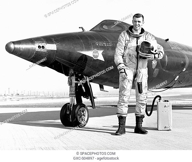 Captain Joe Engle is seen here next to the X-15-2 56-6671 rocket-powered research aircraft after a flight. Engle made 16 flights in the X-15 between October 7