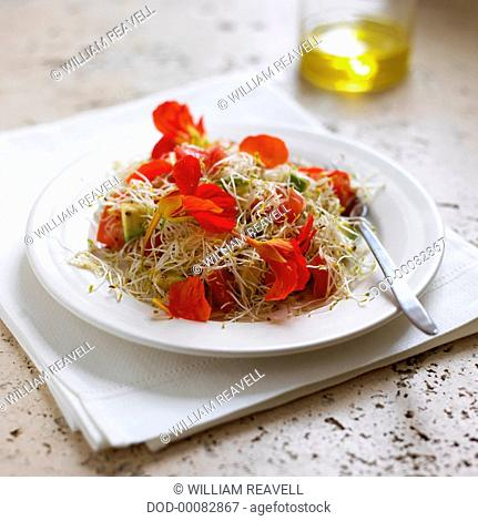 Salad of nasturtium flowers and sprouts on a plate