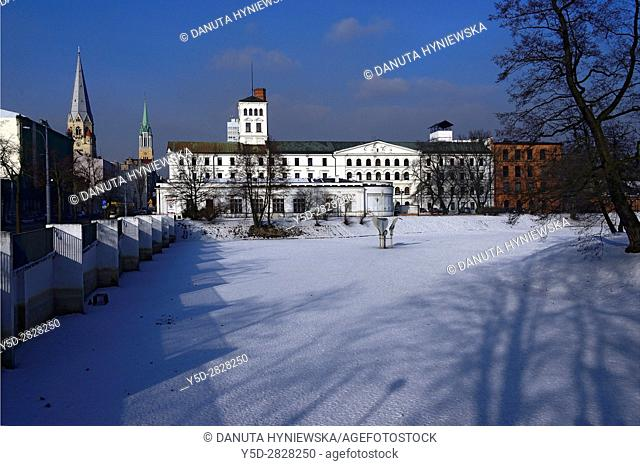 Winter urban landscape of Lodz, White Factory - Biala Fabryka, constructed in years 1835-1839 to host textile factory which belonged to Ludwik Geyer