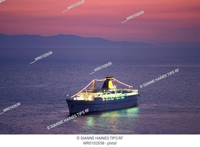 Cruise ship at dusk