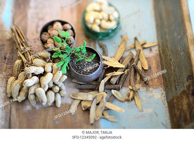 Peanuts, tigernuts, cashews, chia seeds and sweetwood