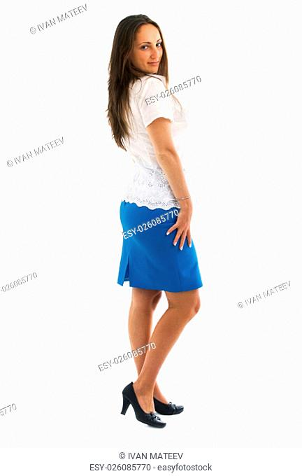 Young woman well-dressed in white shirt and blue skirt isolated on white background