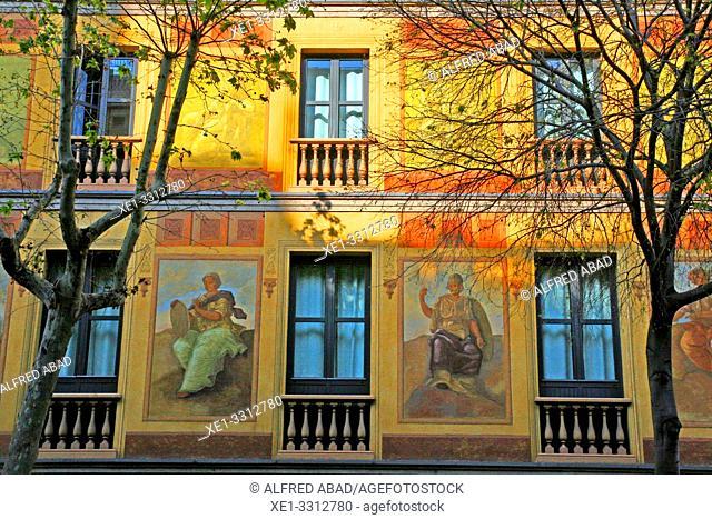 Venetian murals restored, Casas Cerdà, 1863, architect Antoni Valls i Galí, Eixample district, Barcelona, Catalonia, Spain