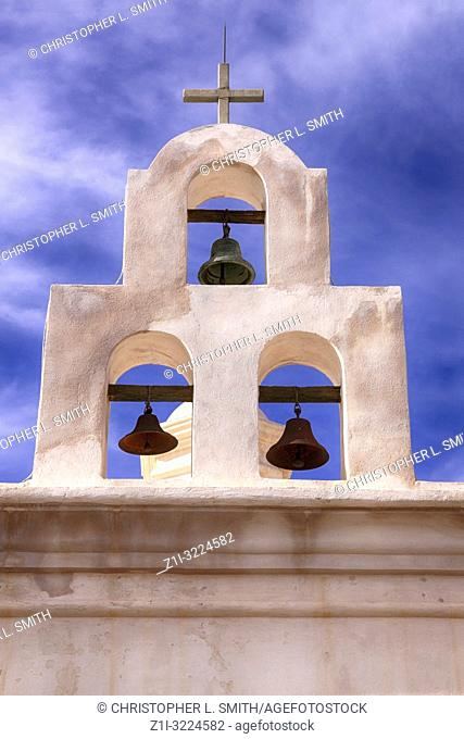 Mortuary Chapel bell tower in the grounds of the Mission San Xavier del Bac in Tucson, AZ
