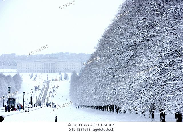 stormont parliament buildings and stormont estate on a cold snowy winters day Belfast Northern Ireland