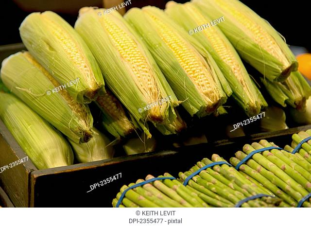 Fresh Corn On The Cob And Asparagus; Seattle, Washington, United States Of America
