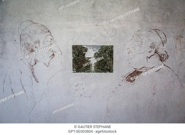 DRAWING ON THE WALLS OF THE 'GANNE' INN, A WAY FOR THE PAINTERS TO PAY THEIR BILLS, DEPARTMENTAL MUSEUM OF THE BARBIZON SCHOOL, FORMER INN 'GANNE', GRANDE RUE