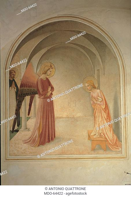 The Annunciation, by Guido di Pietro (or Piero) known as Beato Angelico, 1438 - 1446 about, 15th Century, fresco, cm 190 x 164