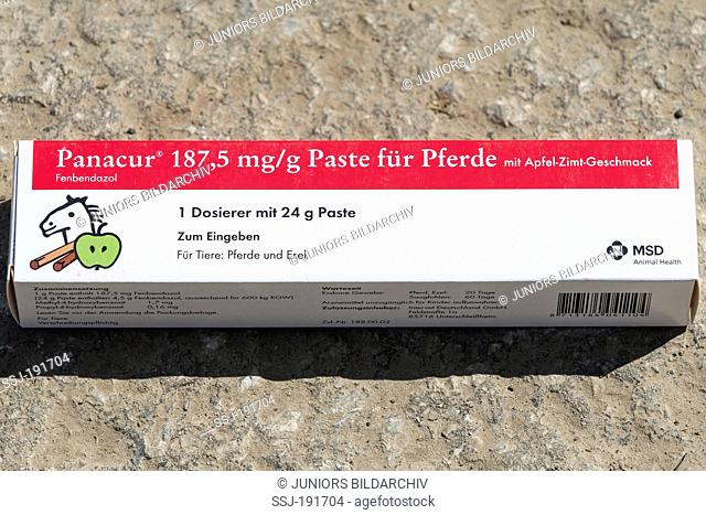 Worming paste for horses. Germany