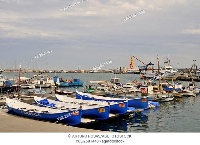 The little harbour of Cambrils in Tarragona. Catalonia, Spain