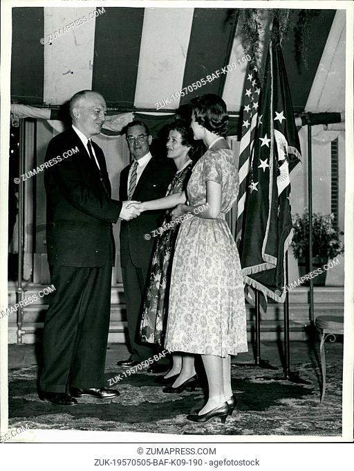 May 05, 1957 - Mr. Stassen Celebrates July 4th In London: The United States Ambassador to the united Kingdom Mr. John Hay Whitney (centre); Mrs