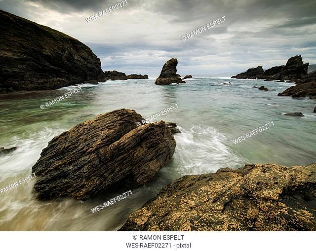 Atlantic Ocean and rocks at Fontes beach, Ferrol, Spain