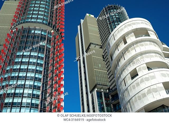A view of modern residential buildings of the Anadara Residence, office towers and restaurants along the precinct on Wulugul Walk in Barangaroo South