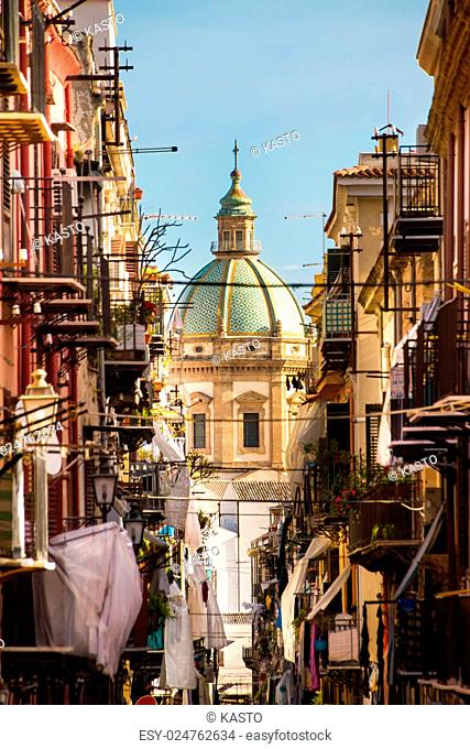View at the church of San Matteo located in heart of Palermo, Italy, Europe tarditional Italian medieval city center with typical narrow residential street