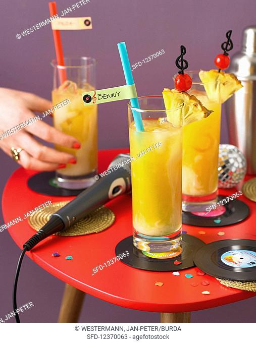 Samba cocktail with ananita juice and coconut liquor for a hit party