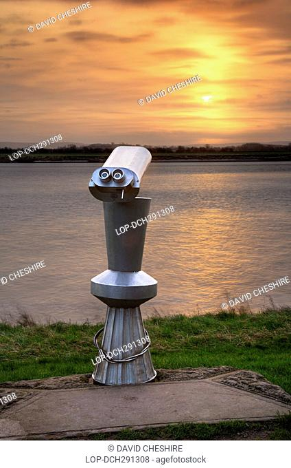 England, Gloucestershire, Newnham - on - Severn. Viewing scope near the River Severn at Newnham