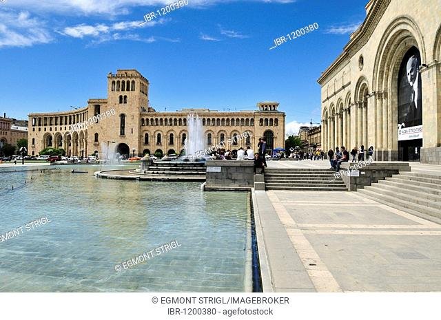 Republic Square with State History Museum, downtown Yerevan, Jerewan, Armenia, Asia