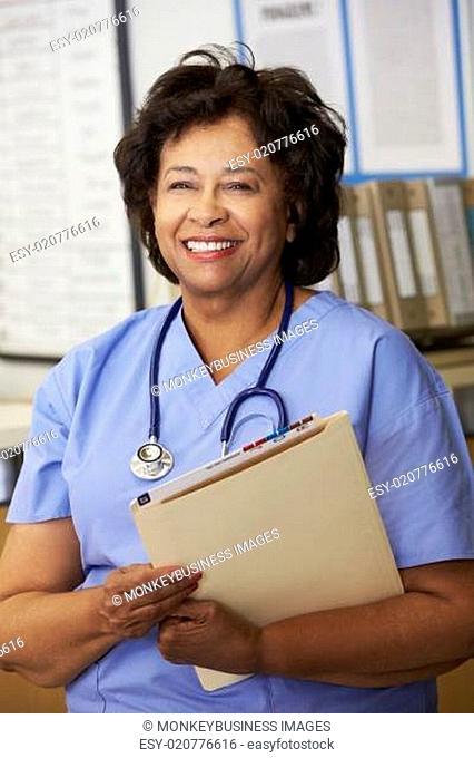 Female Nurse At Nurses Station