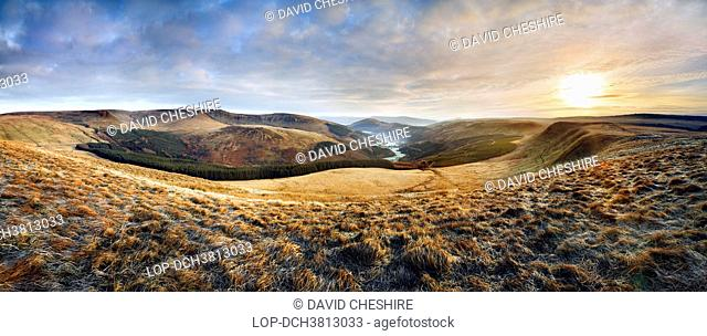 Wales, Powys, Talybont-on-Usk. A view up the Glyn Collwn valley in the Brecon Beacons National Park