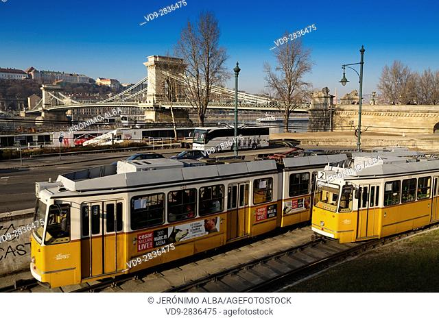 Tram line number 2 on the Danube and Chain bridge. Budapest Hungary, Southeast Europe