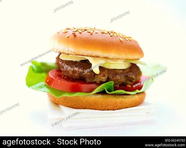 Hamburger on napkins