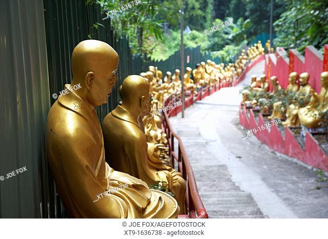 various buddha statues line the steep pathway up to the monastery of ten thousand buddhas sha tin new territories hong kong hksar china asia