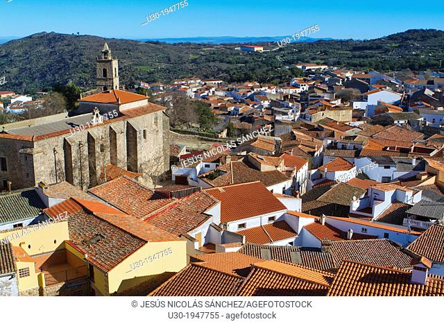 Overview of Montanchez and San Mateo church, in Caceres province, Extremadura, Spain
