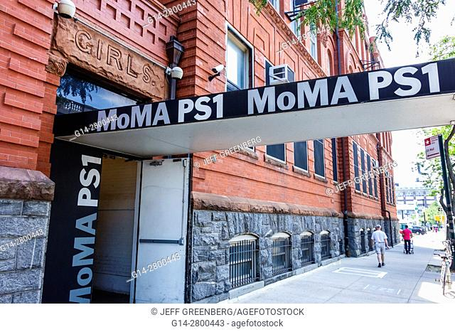 New York, New York City, NYC, Queens, Long Island City, MoMA PS1, contemporary art, museum, exterior, entrance, sign, door