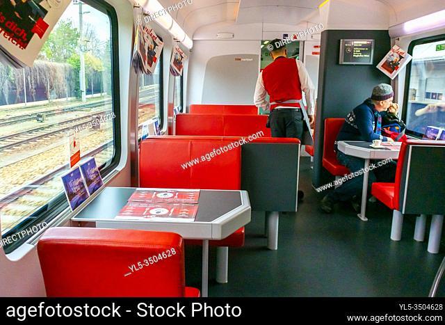 Vienna, Austria, People onboard Restaurant Car, Regional Austrian Train