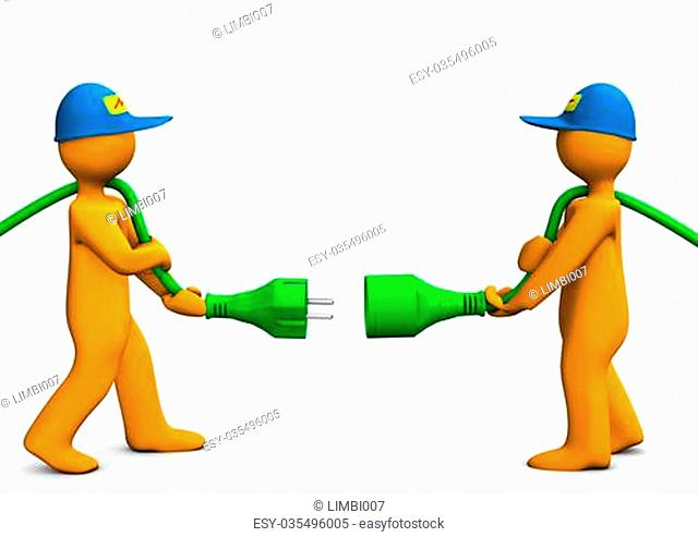 Two orange cartoon characters with green connector