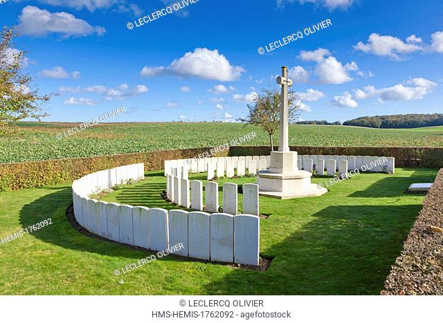 France, Somme, Mametz, Gordon British Cemetery, this cemetery contains the graves of 102 British soldiers belonging mostly to the Gordon Highlanders that fell...