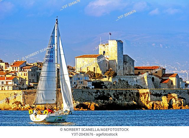 Europe, France, Alpes-Maritimes, Antibes. Sailboat front of the ramparts of the old town