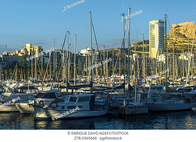 An evening view in the maritime port of Alicante, Spain