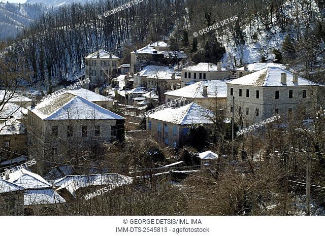 View of snowy Dilofo village. Ioannina, Epiros, Greece, Europe