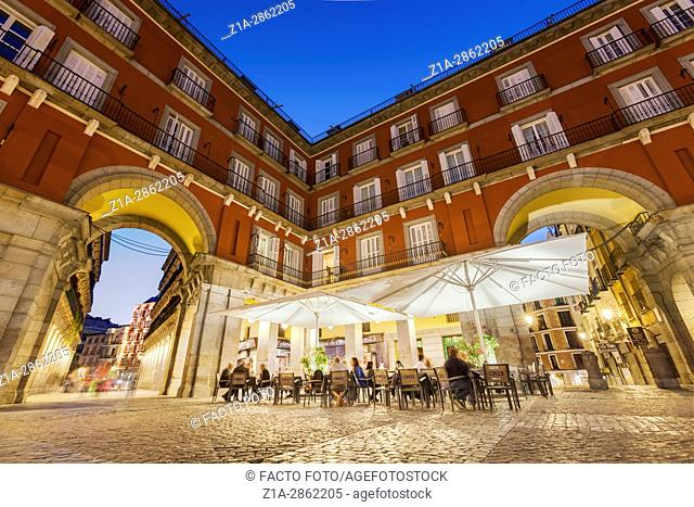 Plaza Mayor square by night . Madrid, Spain