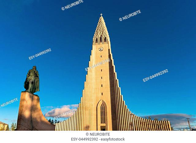 Hallgrimskirkja church in Reykjavik down town, Iceland