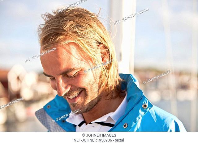 Portrait of smiling man, Vastkusten, Sweden
