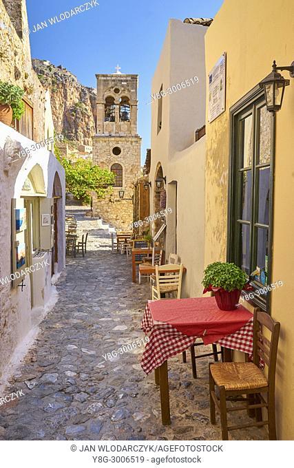 Main street in Monemvasia medieval village, Peloponnese, Greece