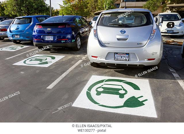 EV symbol painted on parking spaces in a company parking lot indicating spots are reserved for plug-in electric cars