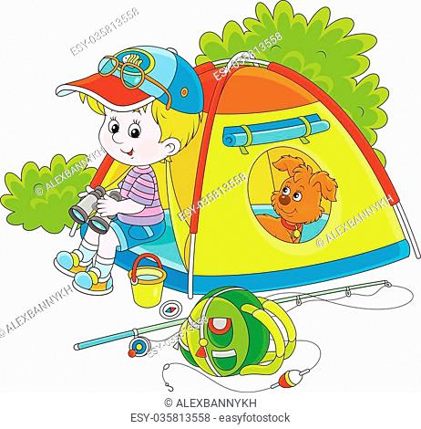 Vector illustration of a little boy and his pup resting in their small tent